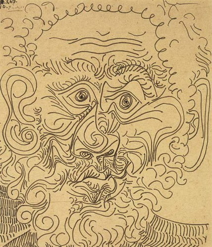 Pablo Picasso. Man head (front), 1969
