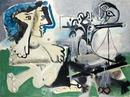Pablo Picasso. Seated Nude and flute player, 1967