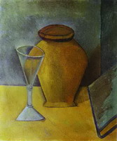 Pablo Picasso. Pot, Wine-Glass and Book, 1908