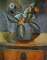 Pablo Picasso. Flowers in a Grey Jug and Wine-Glass with Spoon, 1908