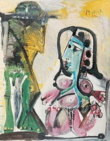 Pablo Picasso. Naked woman and flutist, 1967