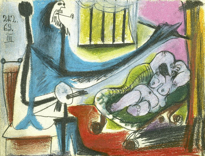 Pablo Picasso. The Studio - The Artist and His Model II, 1963