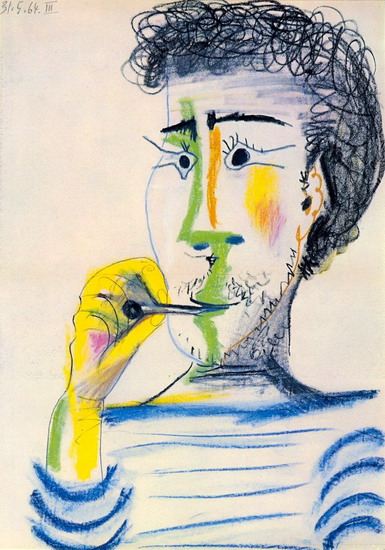 Pablo Picasso. Head of a bearded man with cigarettes III, 1964