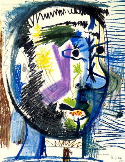 Pablo Picasso. Head of a bearded man at the V cigarette, 1964