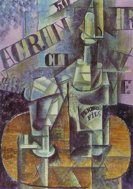Pablo Picasso. Bottle of Pernod (Table in a Cafe), 1912