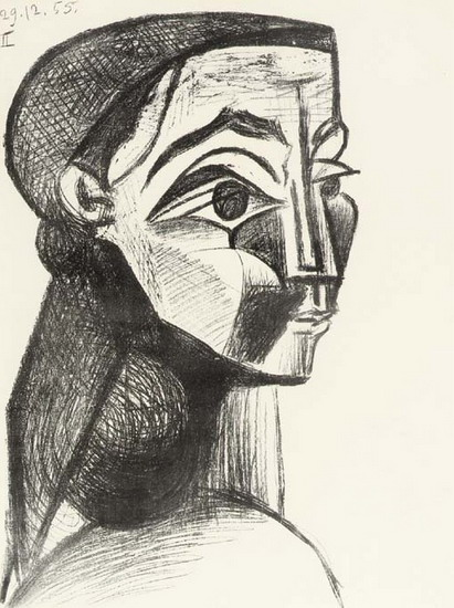 Pablo Picasso. Portrait of woman with a beret, 1955