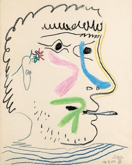 Pablo Picasso. Head of man with cigarette, 1964