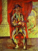 Pablo Picasso. Harlequin with a Guitar