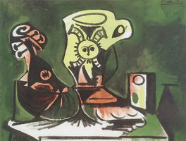 Pablo Picasso. Mandolin, glass jug and I