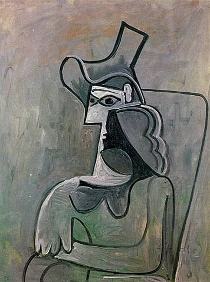 Pablo Picasso. Seated Woman with Hat (Jacqueline), 1961