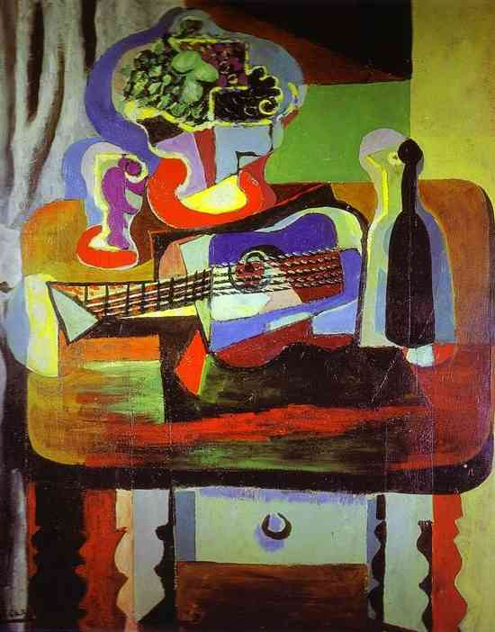 Pablo Picasso. Guitar, Bottle, Bowl with Fruit, and Glass on Table, 1919