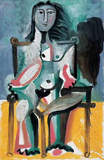Pablo Picasso. Nude sitting in a chair I, 1963