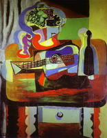 Guitar, Bottle, Bowl with Fruit, and Glass on Table