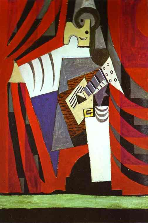 Pablo Picasso. Polichinelle with Guitar Before the Stage Curtain, 1919