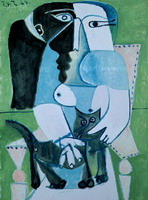 Pablo Picasso. Woman with cat sitting in a chair