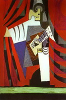 Pablo Picasso. Polichinelle with Guitar Before the Stage Curtain