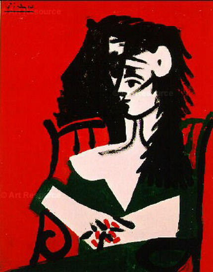 Pablo Picasso. Woman with Mantilla red background I, 1959