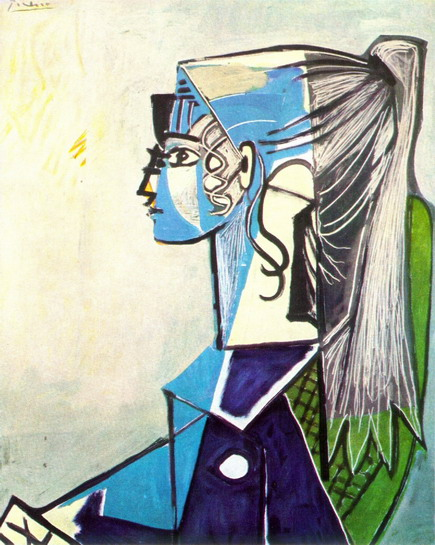 Pablo Picasso. Portrait of Sylvette David 24 green armchair, 1954