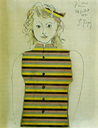 Pablo Picasso. Genevieve on striped jacquette, 1951