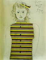 Pablo Picasso. Genevieve on striped jacquette