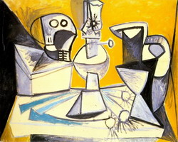 Pablo Picasso. Leeks, crane, lamp and vase
