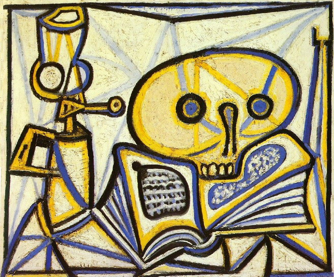 Pablo Picasso. skull, book and lamp oil, 1946