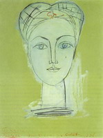 Pablo Picasso. Portrait of Françoise long neck I, 1946
