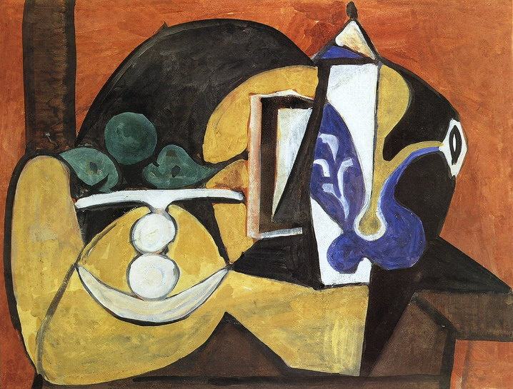 Pablo Picasso. Still Life with Fruit Dish and coffee maker, 1947