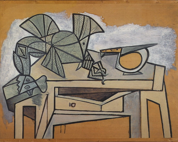 Pablo Picasso. Still life with rooster and knife, 1947