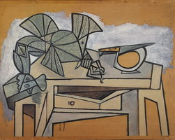 Pablo Picasso. Still life with rooster and knife