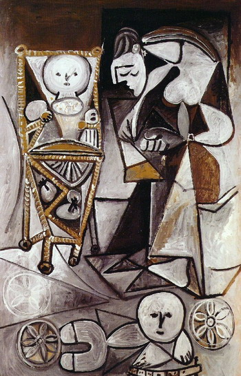 Pablo Picasso. Woman draws surrounded her children (Françoise drawing with her children), 1950