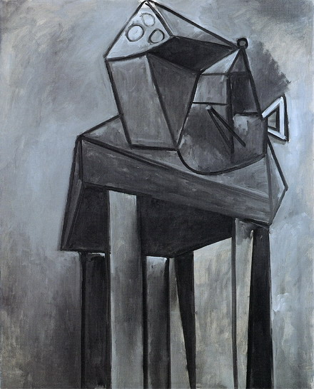 Pablo Picasso. Still Life, table and dark gray coffee maker, 1947