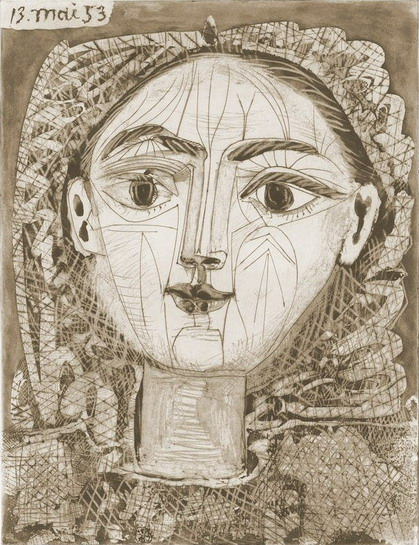 Pablo Picasso. Portrait of Françoise to the fuzzy hair, 1953