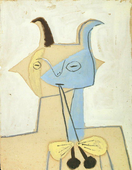 Pablo Picasso. Yellow and blue fauna playing diaule, 1946