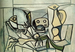 Pablo Picasso. Leeks, fish head skull and pitcher
