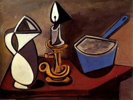 Pablo Picasso. Jug, candle and pot enamelled