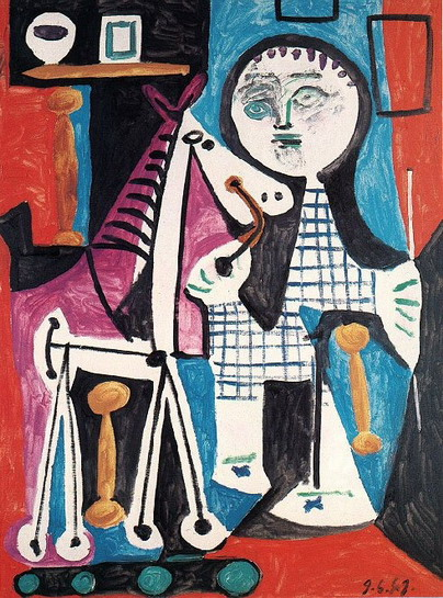 Pablo Picasso. Claude has two years with his horse on wheels 1, 1949
