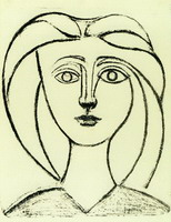 Pablo Picasso. Head of a Girl with big hair VI