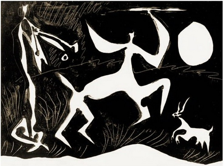 Pablo Picasso. Centaur dancing on black background, 1948