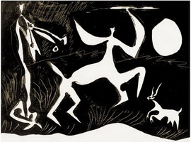 Pablo Picasso. Centaur dancing on black background