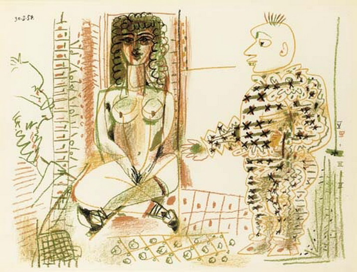 Pablo Picasso. The Artist and His Model III, 1954