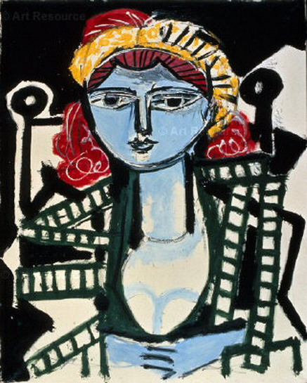 Pablo Picasso. Woman portrait in yellow-green dress, 1954
