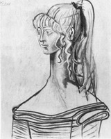Pablo Picasso. Portrait of Sylvette David 31 to the striped gown, 1954