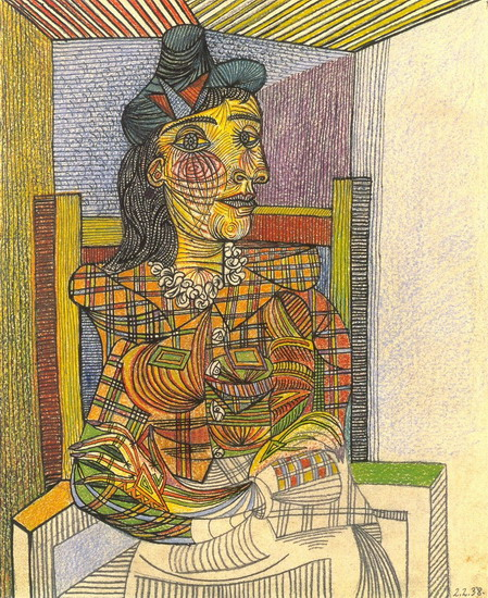Pablo Picasso. Portrait of Dora Maar sitting, 1938