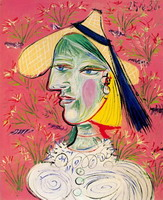 Pablo Picasso. Woman with straw hat on floral background