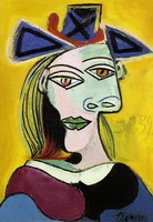 Head of a Woman with blue hat red ribbon