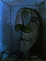 Pablo Picasso. Female head green nose on dark blue background (Dora)