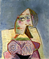 Pablo Picasso. Bust of a Woman in purple suit