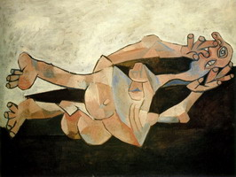 Pablo Picasso. Woman couchee background catechu
