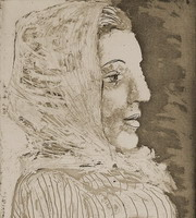 Bust of woman with kerchief
